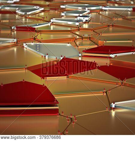 broken golden glass with sharp pieces over background 3d rendering