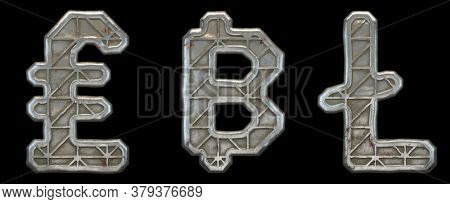 Set of symbols lira, litecoin and dashcoin made of industrial metal on black background 3d rendering