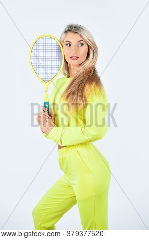 Summer Activity. Tennis Sport And Entertainment. Girl Play Tennis. Fitness Woman. Play Game. Sport F