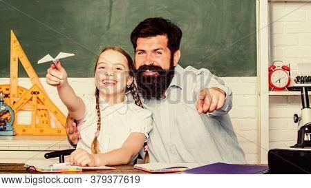 School Learners Leisure. Creating A Community Of Learners. Teacher And Schoolgirl. Man Bearded Pedag