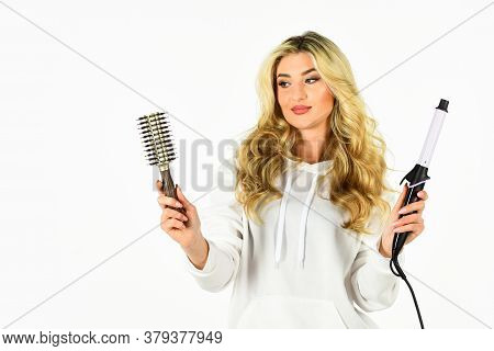 Hairdresser Tips. Create Hairstyle With Curling Iron. Woman With Long Curly Hair Use Curling Iron. G