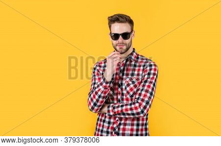 Male Hairdresser And Barbershop. Male Beauty Trend. Bearded Man With Sexy Bristle In Glasses. Facial