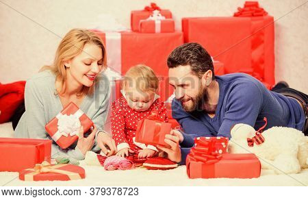 Family Celebrate Anniversary. Couple In Love And Baby Daughter. Valentines Day Concept. Together On