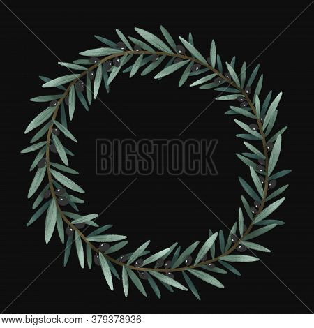 Olives Branch And Leaves, Frame Template, Green Herbal Set Organic Nature Illustration