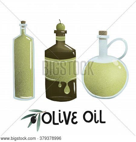 Bottle Of Olive Oil, Green Lettering Organic Nature Illustration,
