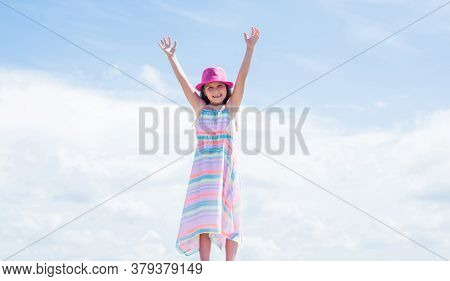 Young And Beautiful. Stylish Cute Child Posing In Spring. Summer Fun And Leisure Concept. Fashion Mo