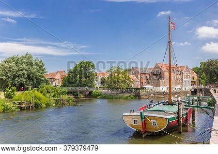Historic Wooden Ship In The Harbor Of Ribe, Denmark