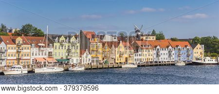 Panorama Of Colorful Old Houses At The Water In Sonderborg, Denmark