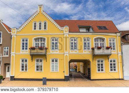 Old Yellow House In The Historic Harbor Of Sonderborg, Denmark