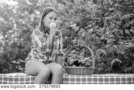 Eat Healthy. Summer Harvest Concept. Healthy Homegrown Food Concept. Girl Cute Smiling Child Living
