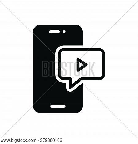 Black Solid Icon For Video-message Video Message Application Chat Communication Internet Social Mult