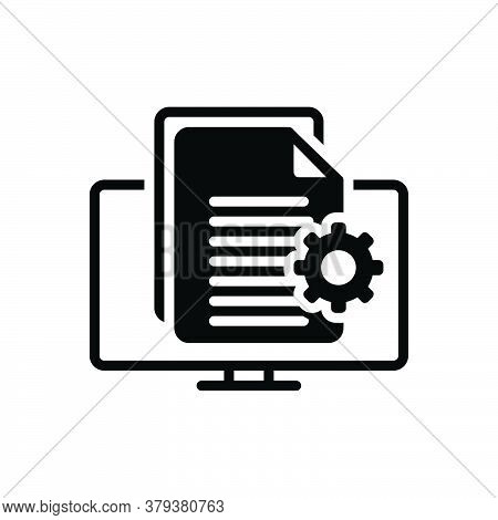 Black Solid Icon For Content-management Content Management Executive Authority Document