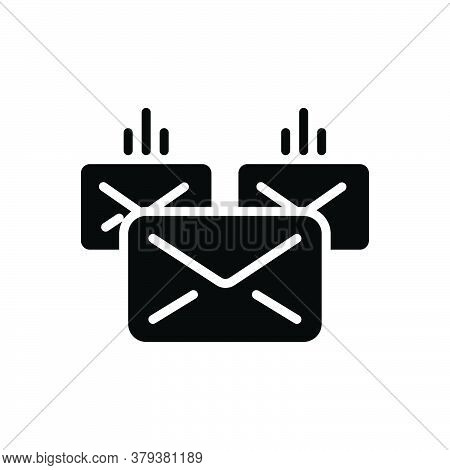 Black Solid Icon For Mailing Email Contact Inbox Envelope Correspondence Message Postage Span Junk