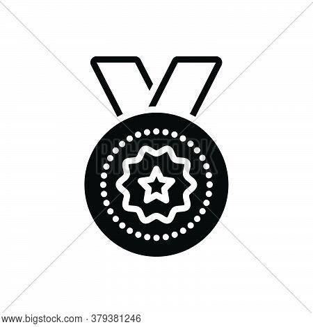 Black Solid Icon For Medal-award Medal Award Reward Wreath Laurel Regalia Prize Achievement Winner