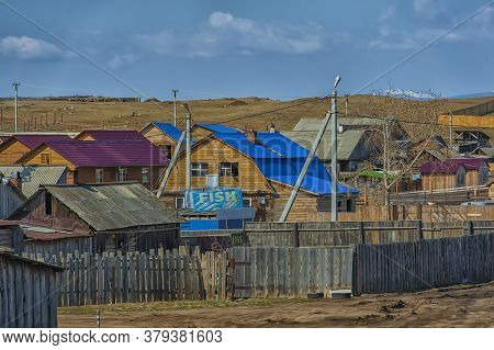 Russia, Olkhon 06,05,2018 Wooden Houses In The Village Of Khuzhir