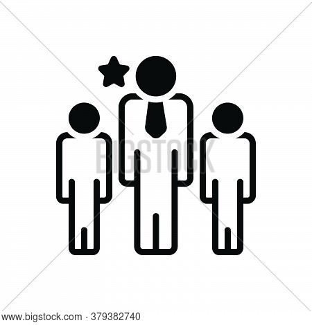 Black Solid Icon For Leader Chief Commander Director Manager Chieftain People Group
