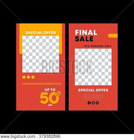 Red Poster. Final Sale Poster Or Flyer Design. Modern Promotion Square Web Banner, Email Ad Newslett