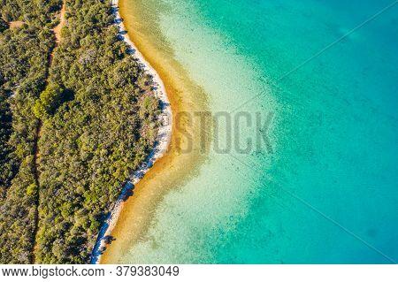 Aerial View Of Adriatic Coastline In Croatia, Dugi Otok Island. Pine Woods, Long Hidden Secret Beach