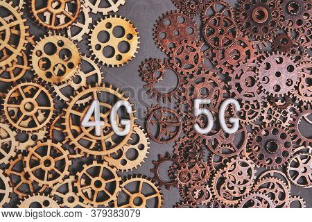 Modern Technologies And Progress Of 4g Networks Switching To 5g.logo Of 4g And 5g Networks On The Ba