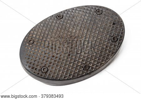 Old Rubber Brake Pedal Pad Dirty From Black Rubber On A White Isolated Background In A Photo Studio,