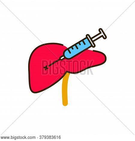 Biopsy Liver Color Line Icon. Medical And Scientific Concept. Laboratory Diagnostics. Pictogram For