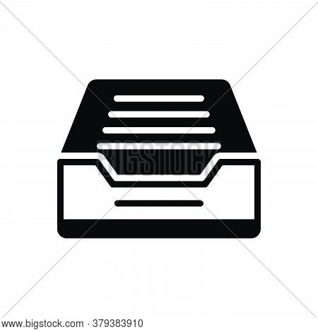 Black Solid Icon For Mailbox-tray Letter-drop Communication Postal Message Receiving