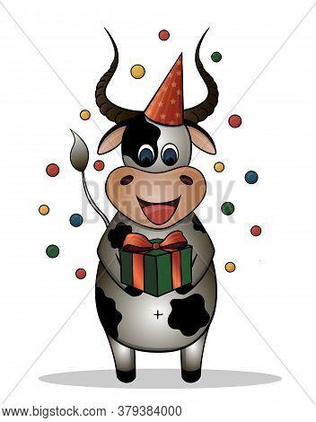 Vector Drawing Of A Cartoon Bull. Bull Celebrates Birthday. Bull With A Gift