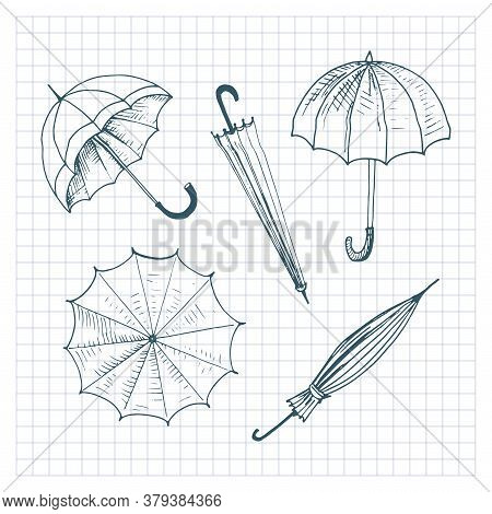 Umbrellas Set. Collection Of Isolated Sketchy Style Umbrellas. Doodle Umbrellas On Checkered Backgro
