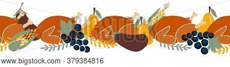 Thanksgiving Dinner Seamless Vector Border. Roasted Turkey Horizontal Repeating Pattern. Thanksgivin