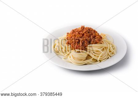 Spaghetti With Bolognese Sauce Isolated On White Background. Copy Space