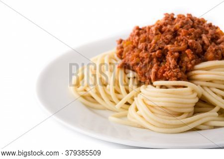 Spaghetti With Bolognese Sauce Isolated On White Background.