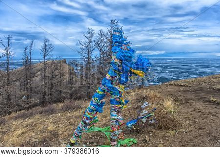 Buddhism Symbol - Ritual Shaman Pillars On Olkhon Island, Russia