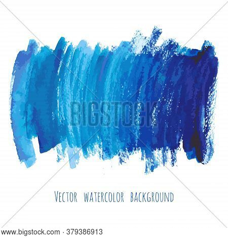 Navy Blue, Indigo Vector Watercolor Texture Background With Dry Brush Stains, Strokes And Spots Isol