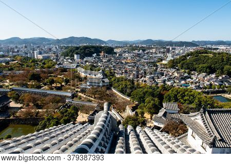 Himeji, 06/11/19. Landscape Day View From The Top Of Himeji Castle Overlooking Himeji City And Forti