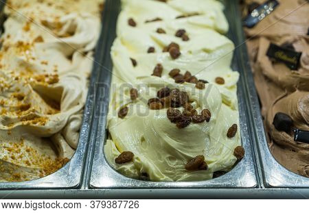 Rum Raisin Italian Gelato Ice Cream In The Gelato Shop