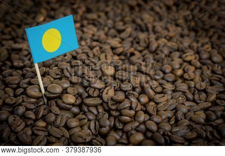 Palau Flag Sticking In Roasted Coffee Beans. The Concept Of Export And Import Of Coffee