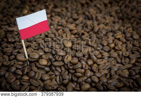 Poland Flag Sticking In Roasted Coffee Beans. The Concept Of Export And Import Of Coffee
