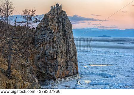 Spring Morning At Lake Baikal. Olkhon, Spring Landscape