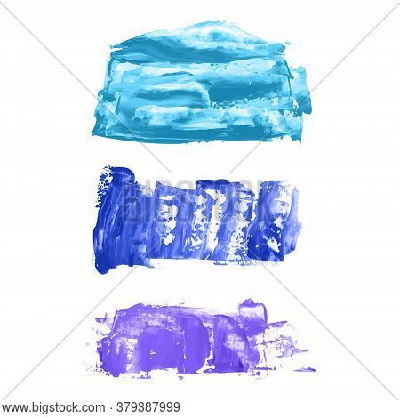 Set Of Vector Navy, Turquoise Blue, Violet Watercolor Hand Painted Texture Backgrounds Isolated On W