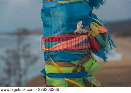 Shaman Poles Of Serge On Olkhon Close Up