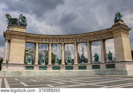 Budapest, Hungary - June 28th 2013: Heroes Square And Millennium Monument On A Cloudy Summers Day In