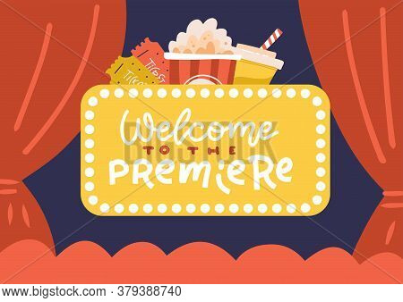Banner Cinema Hall, Screen And Red Curtains. Templates For Advertising Posters To The Films Premiere
