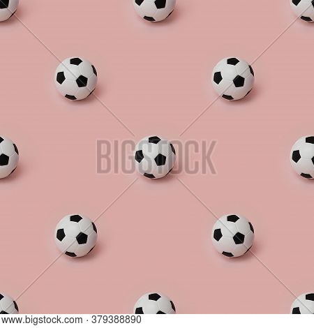 Photographic Collage, Seamless Pattern Of Black And White Football Balls Isolated On Pink Background