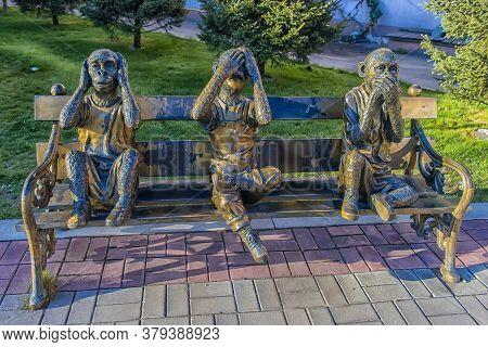 Irkutsk, Russia, 06.05.2018. Park Of 350th Anniversary Of Irkutsk (irkutsk Sculpture Park). The Scul