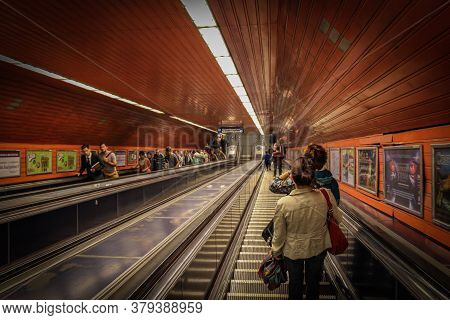 Budapest, Hungary - June 28th 2013: Descending The Escalators Into Budapest\'s Old Underground Metro