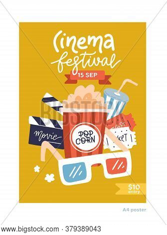 A4 Size Movie Poster. Cinema Placard Flat Design Template With Film Symbols - Tape, Stereo Glasses,