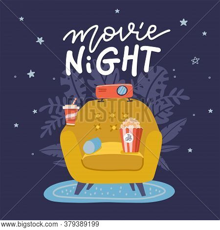 Movie Night Banner Design. Trendy Concept Design On Home Movie Watching Entertainment With Yellow So