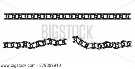 Straight Unbroken Tileable Chain And Wavy Broken Chain Silhouettes