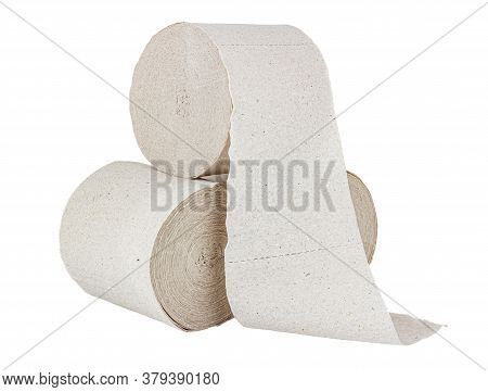 Three Rolls Of Cheap Grey Toilet Paper Isolated On White Background