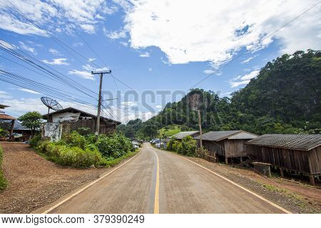 View Of The Village, House On The Mountain And Clear Skies At Ban Cha Bo In Mae Hong Son Province, T